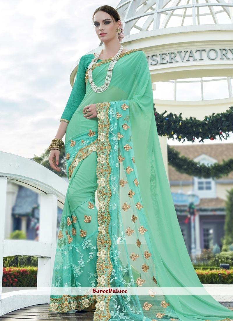 Enchanting Sea Green Faux Georgette Designer Saree