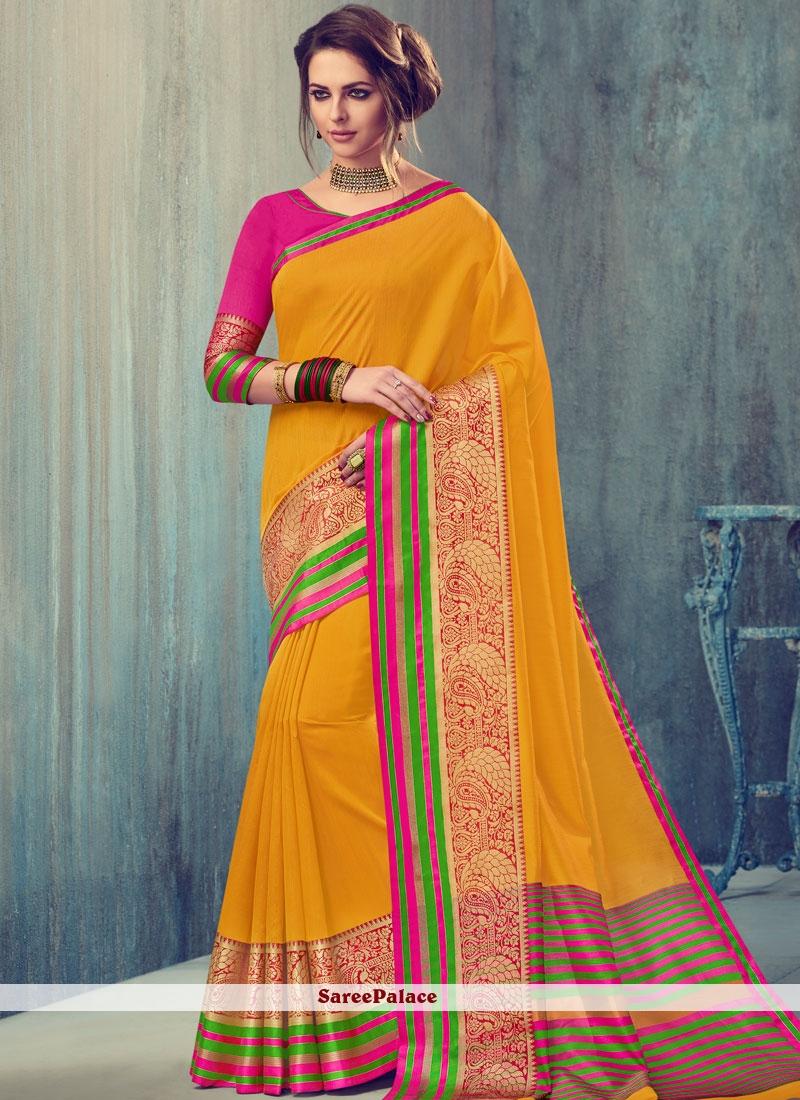 Enchanting Yellow woven Work Designer Traditional Saree