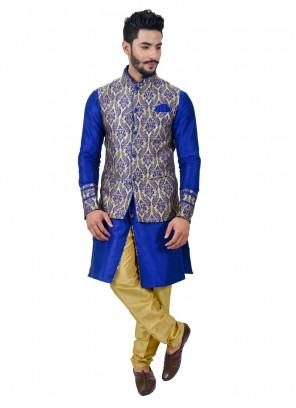 Energetic Blue Plain Work Art Silk Kurta Payjama With Jacket