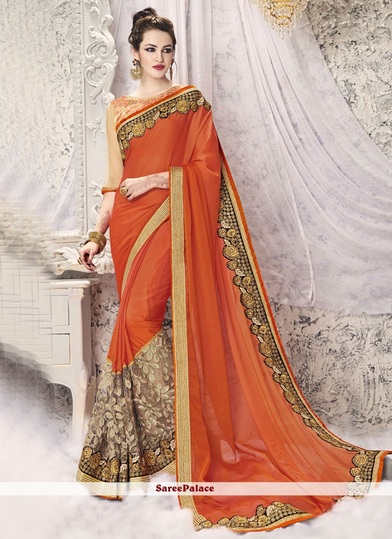 Energetic Embroidered Work Orange Designer Half N Half Saree