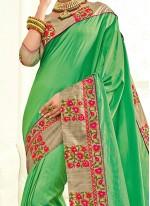 Energetic Faux Chiffon Green Classic Designer Saree