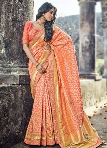 Energetic Gold and Salmon Banarasi Silk Traditional  Saree