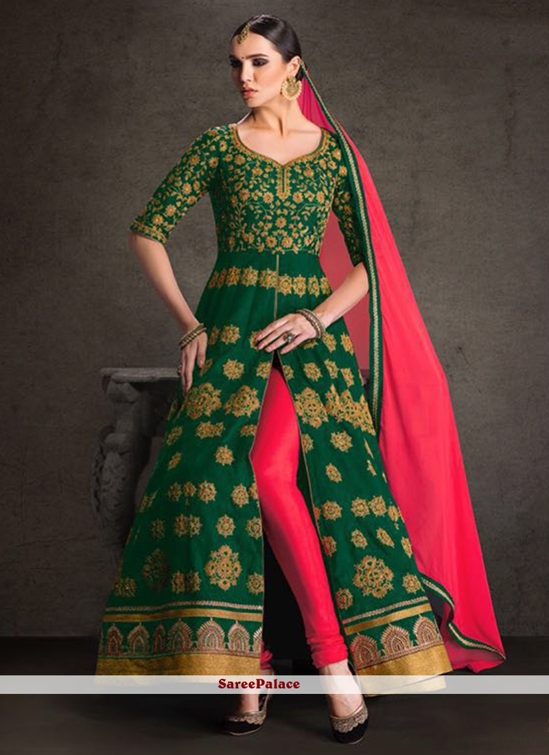 Energetic Green Patch Border Work Banglori Silk Designer Floor Length Suit