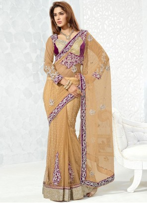 Energetic Net Embroidered Work Lehenga Saree