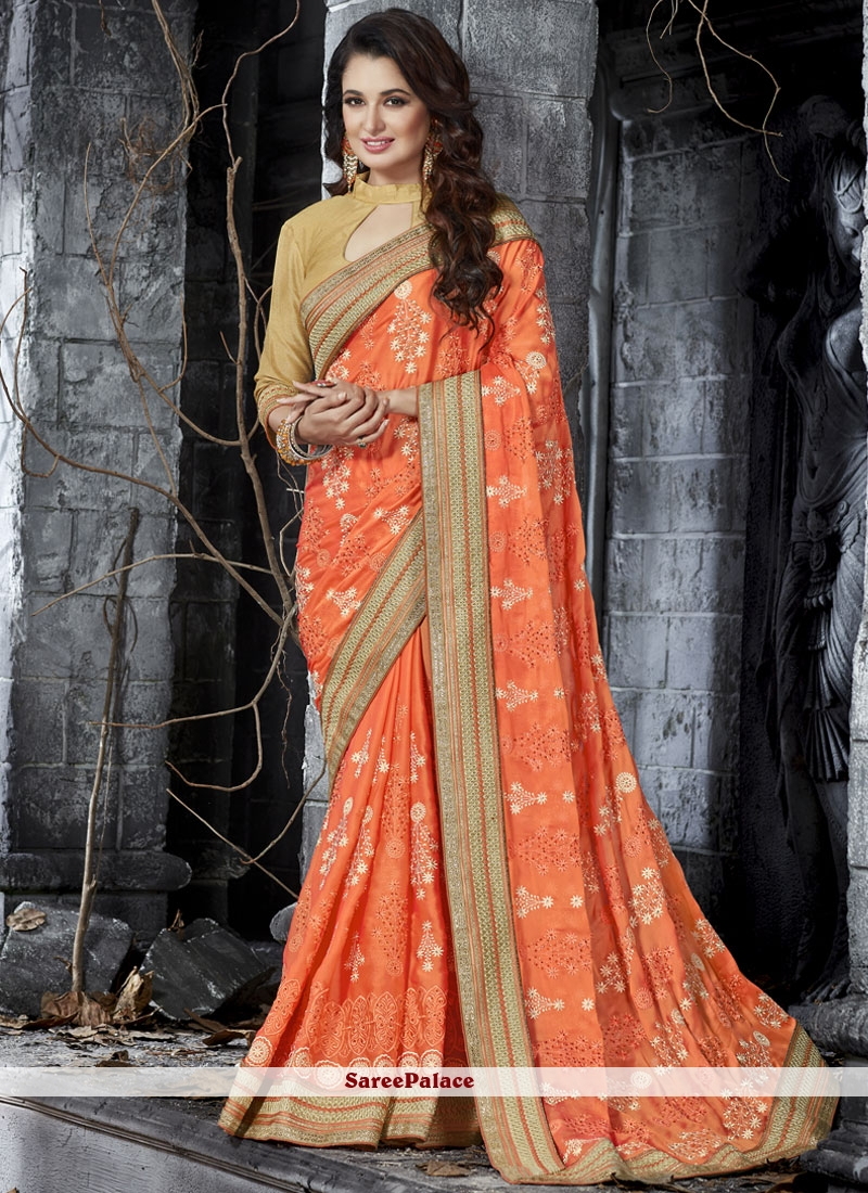 Energetic Resham Work Orange Designer Half N Half Saree