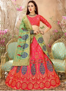 Engrossing Art Silk Weaving Work Lehenga Choli