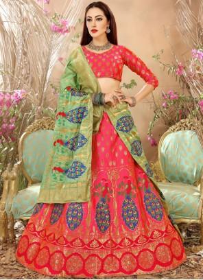 Engrossing Art Silk Weaving Work Lehenga Choli