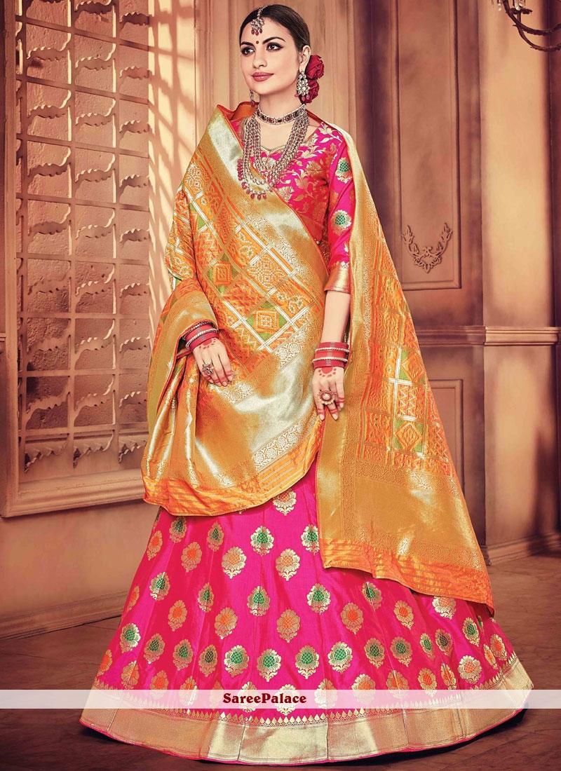 913bf4d648 Buy Engrossing Banarasi Silk Zari Work Designer Lehenga Choli Online