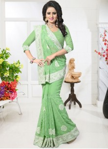 Engrossing Faux Georgette Green Resham Work Classic Designer Saree
