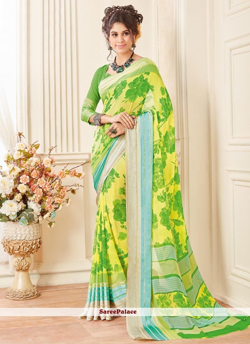 Engrossing Georgette Green and Yellow Printed Saree