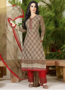 Engrossing Print Work Cotton   Brown and Red Pant Style Suit