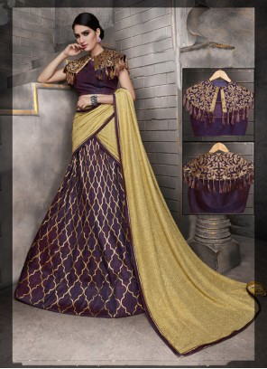 Enthralling Embroidered Work Tussar Silk A Line Lehenga Choli
