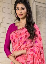 Enthralling Georgette Pink Casual Saree
