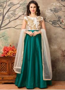 Enthralling Sea Green Tafeta silk Floor Length Anarkali Suit