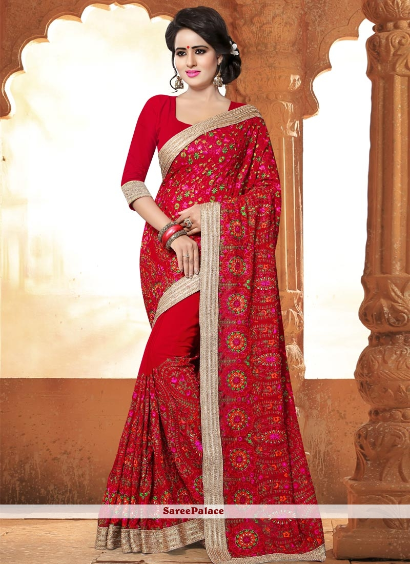 0e085a4e83d05 Buy Enticing Faux Georgette Red Resham Work Saree Online