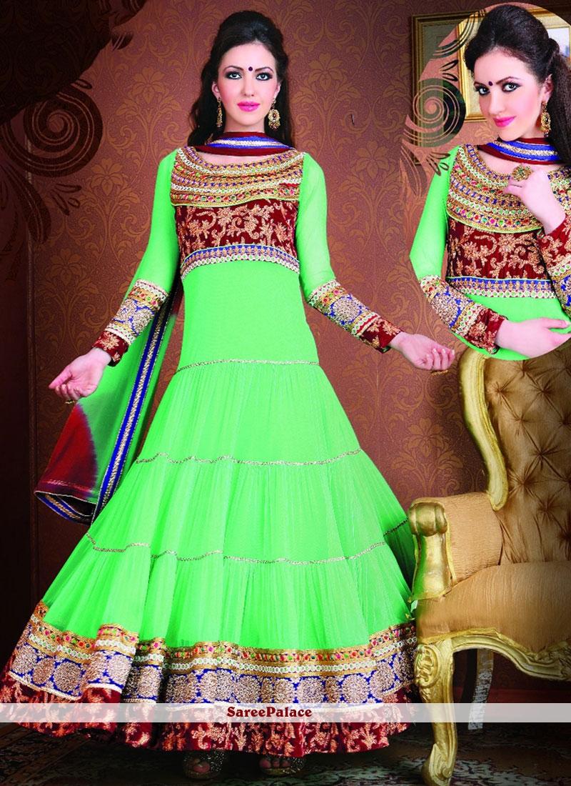 Enticing Net Sea Green Floor Length Anarkali Suit