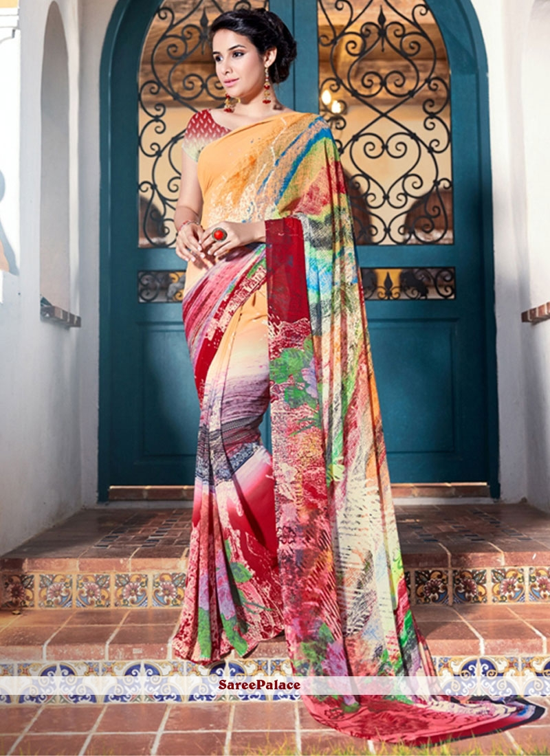Enticing Print Work Printed Saree