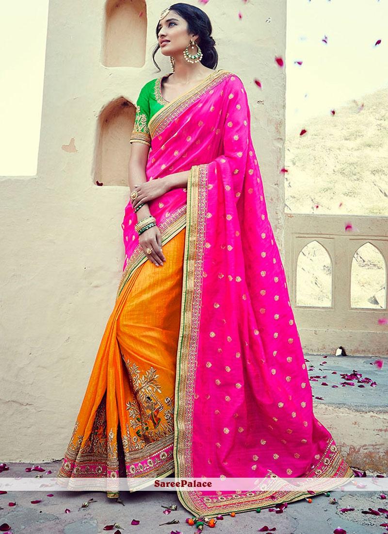 Enticing Tussar Silk Half N Half  Saree