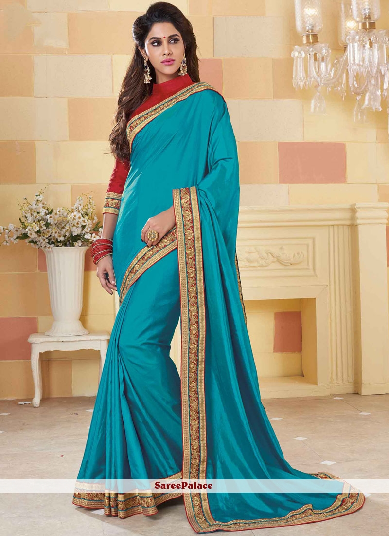 94d677ae02 Buy Entrancing Art Silk Blue Embroidered Work Designer Traditional Saree  Online