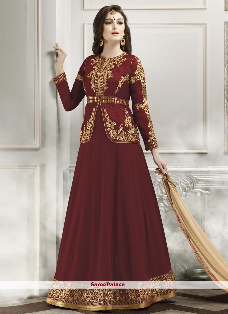 Entrancing Lace Work Maroon Designer Floor Length Suit