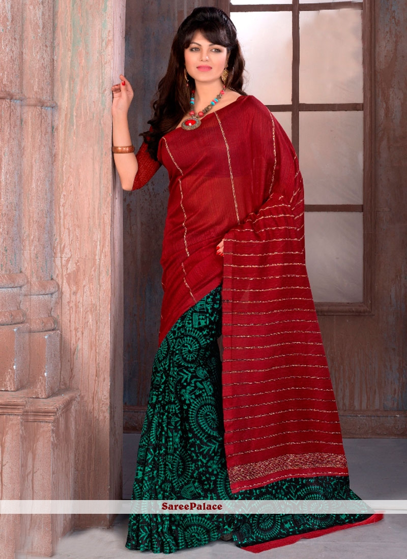 Entrancing Print Work Green and Red Manipuri Silk Printed Saree