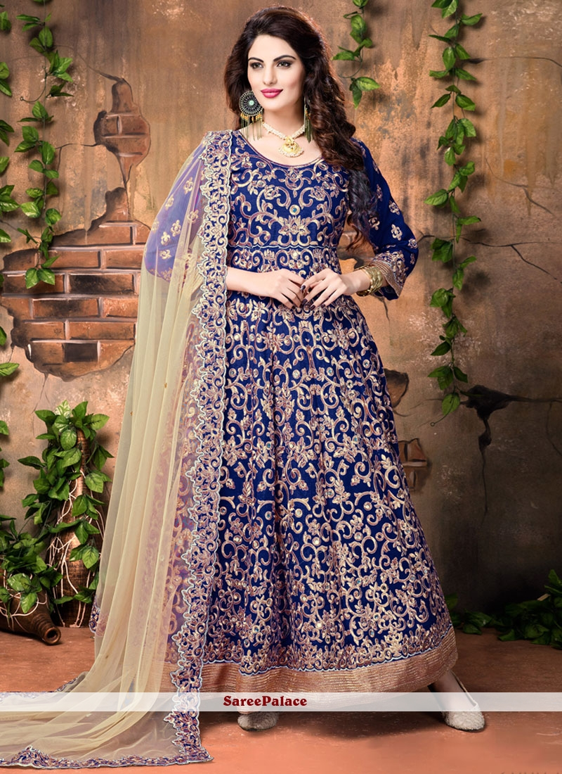 Epitome Banglori Silk Navy Blue Embroidered Work Designer Floor Length Suit