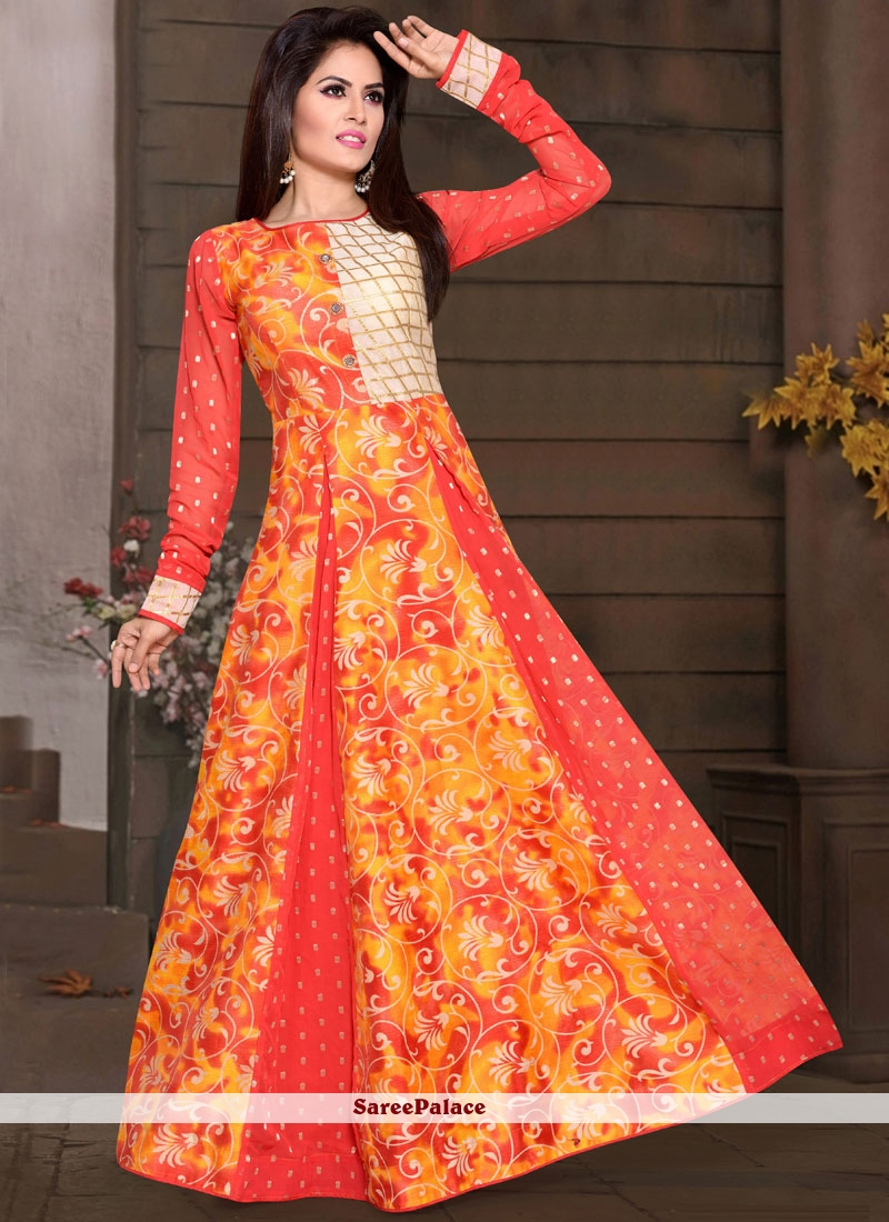 ee0519174b44 Buy Epitome Chanderi Orange Readymade Gown Online