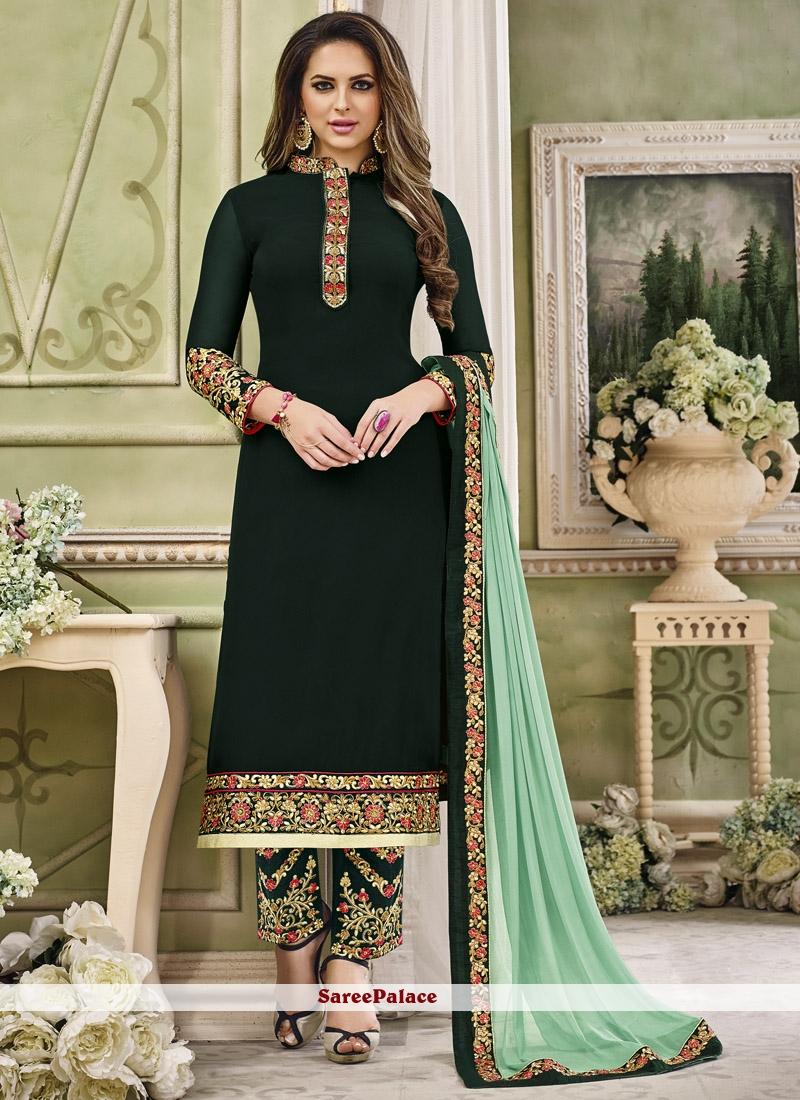 ce403e1fb5 Buy Epitome Dark Green Faux Georgette Pant Style Suit Online