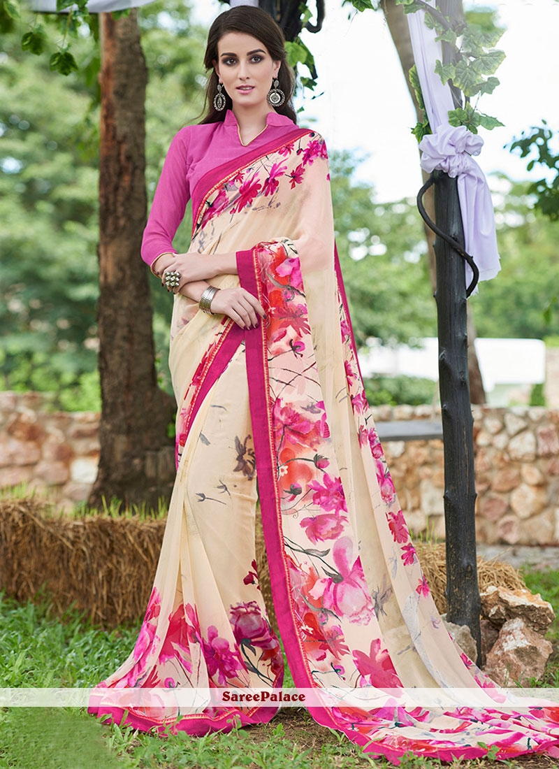 Epitome Georgette Cream and Hot Pink Printed Saree