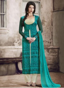 Epitome Print Work Faux Georgette Blue Pant Style Suit