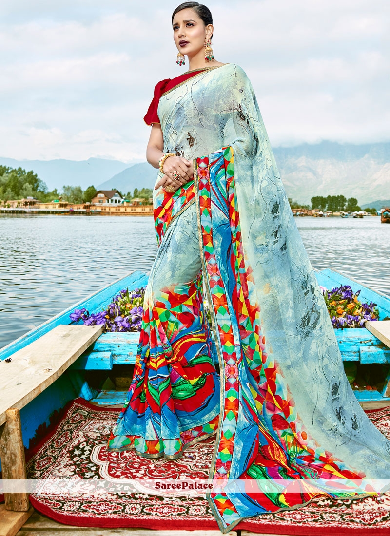 Epitome Weight Less Multi Colour Print Work Casual Saree