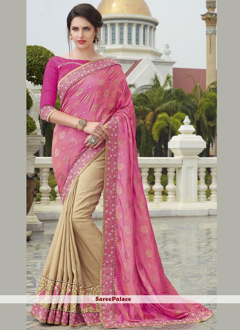 Especial Beige and Pink Embroidered Work Designer Half N Half Saree