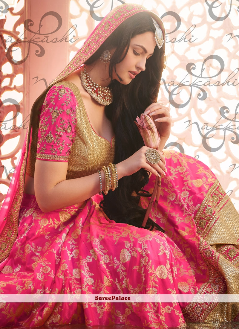 Image result for pink brocade lehenga