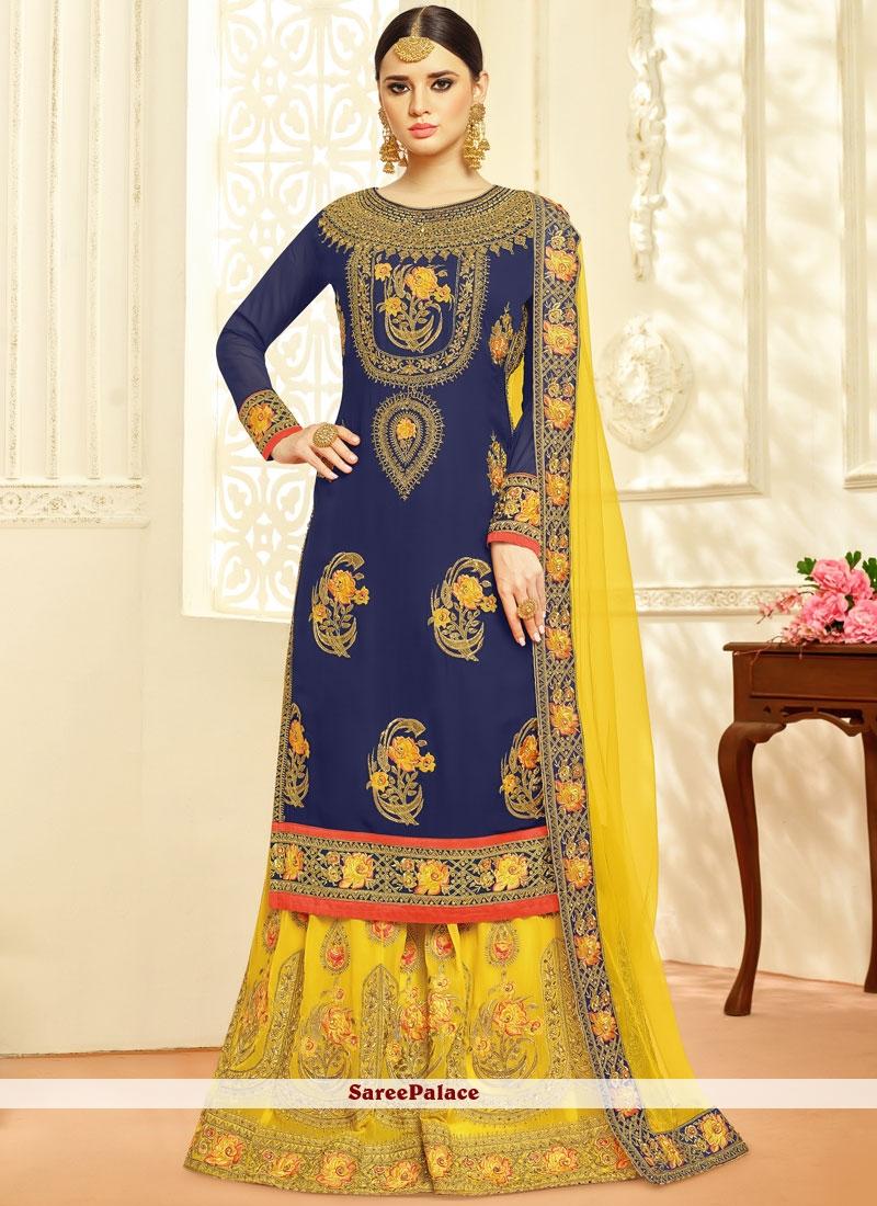 8cbf488f1e Buy Especial Navy Blue and Yellow Georgette Designer Palazzo Salwar Kameez  Online
