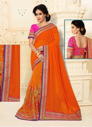 Especial Net Orange Designer Half N Half saree