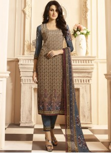 Especial Print Work Faux Crepe Multi Colour Designer Suit