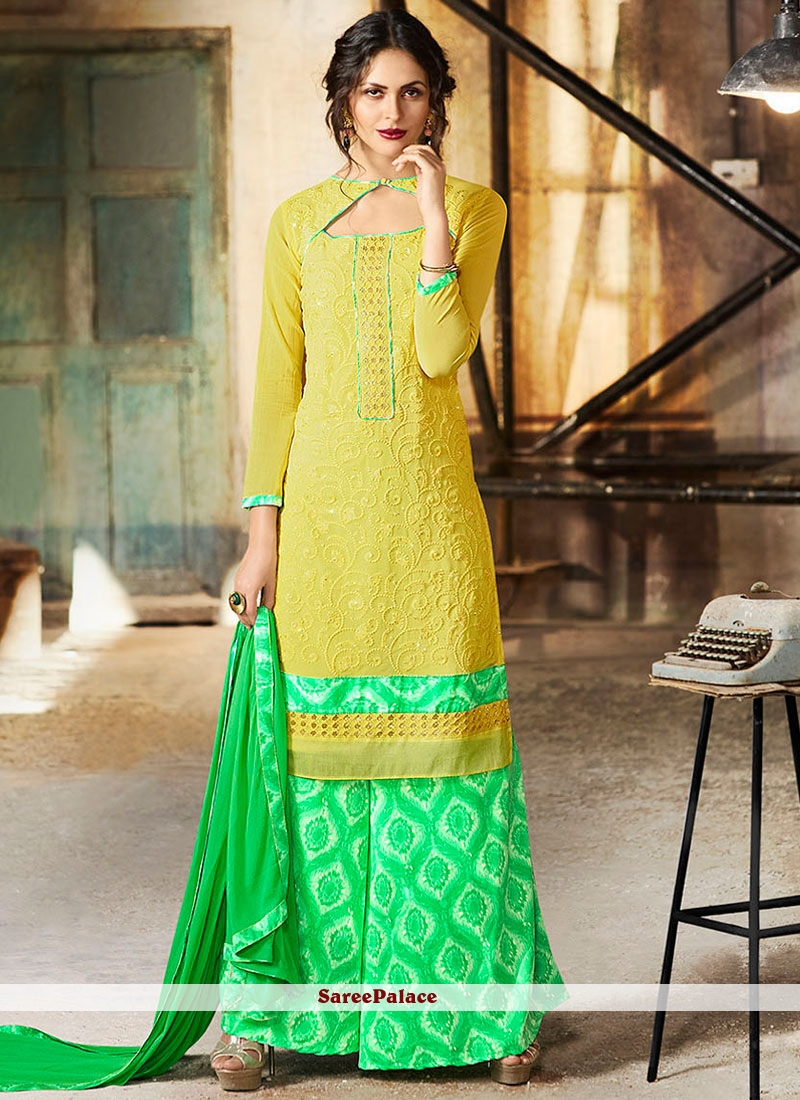 Yellow Faux Georgette Palazzo Suit