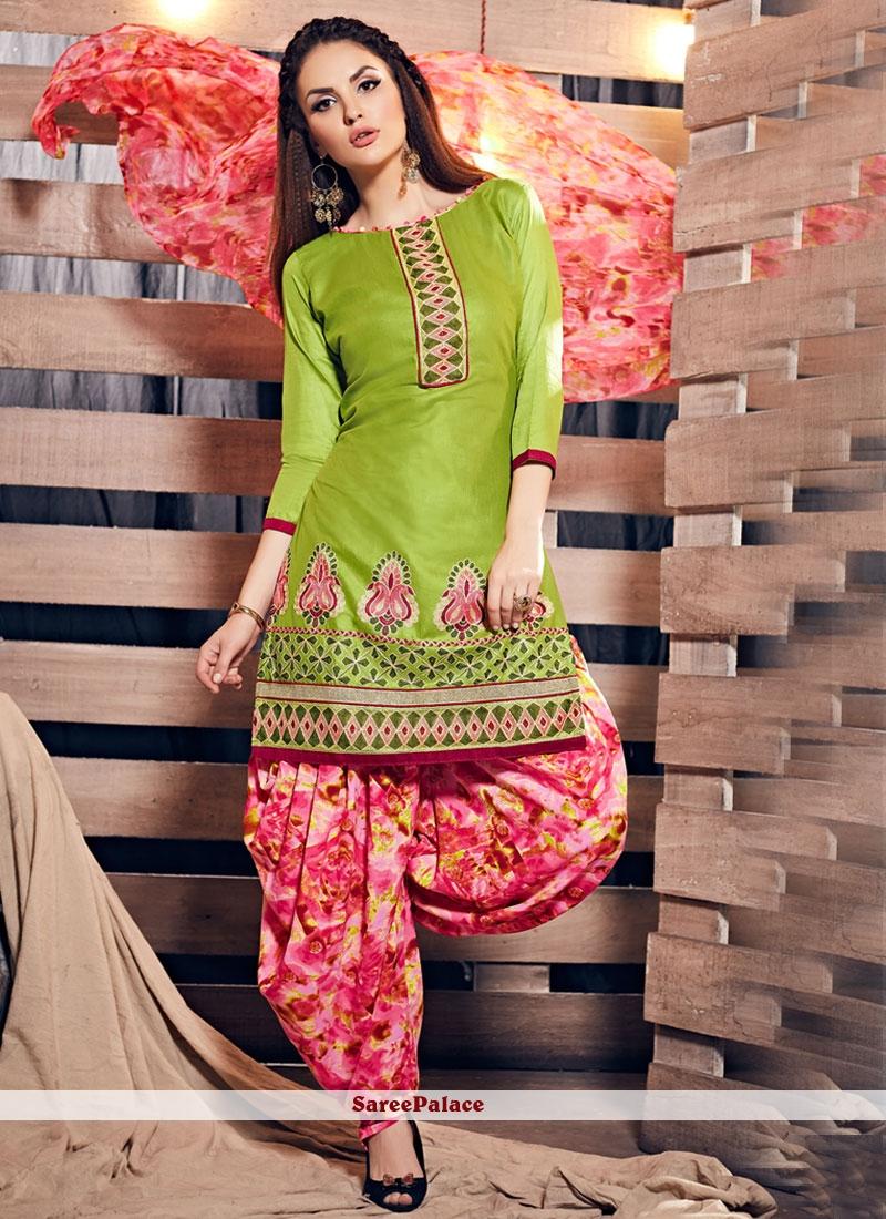 Resham Work Cotton Punjabi Suit In Green