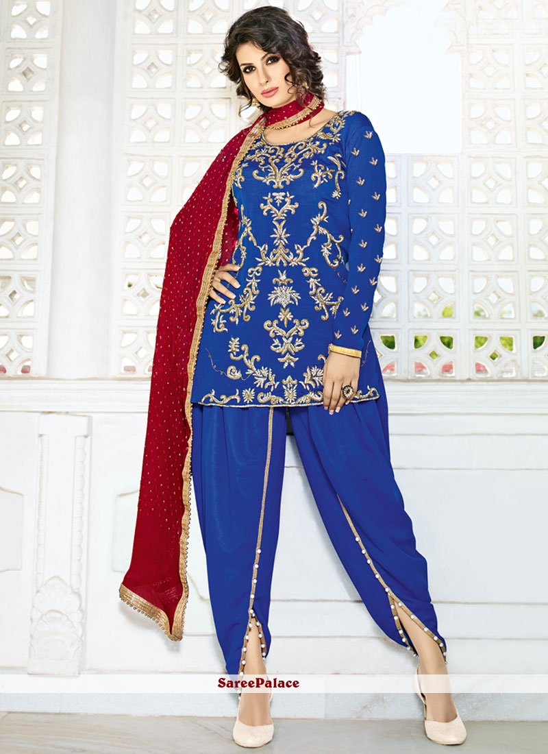 Ethnic Stone Work Blue Pure Crepe Punjabi Suit