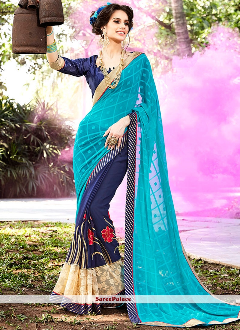 Exceeding Embroidered Work Blue and Navy Blue Faux Georgette Designer Half N Half Saree