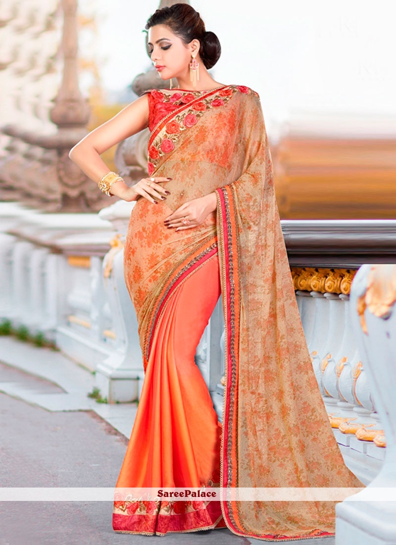 Exceeding Faux Chiffon Orange Classic Designer Saree