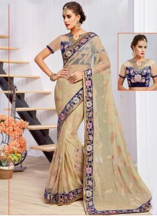 Exceeding Net Beige Classic Designer Saree