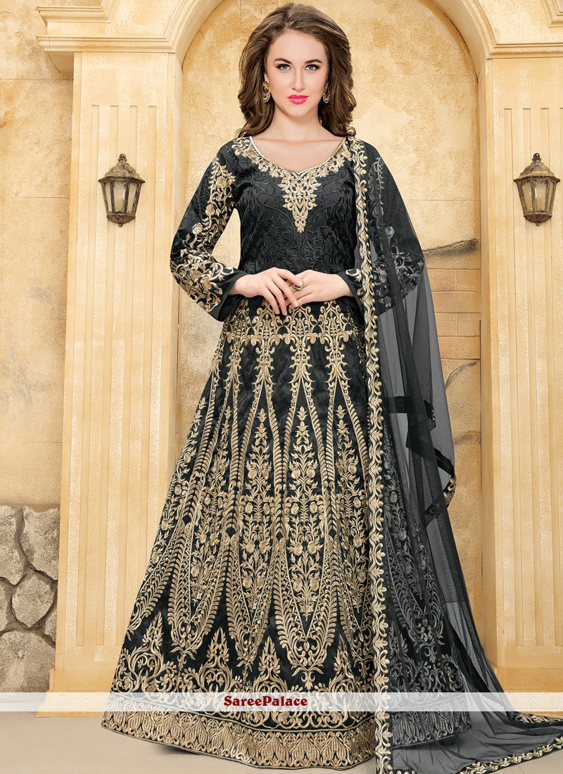 Exceeding Resham Work Black Floor Length Anarkali Suit
