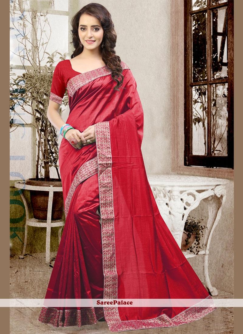 Excellent Art Silk Patch Border Work Traditional Designer Saree