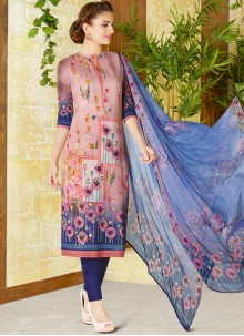 Excellent Cotton   Multi Colour Print Work Churidar Designer Suit