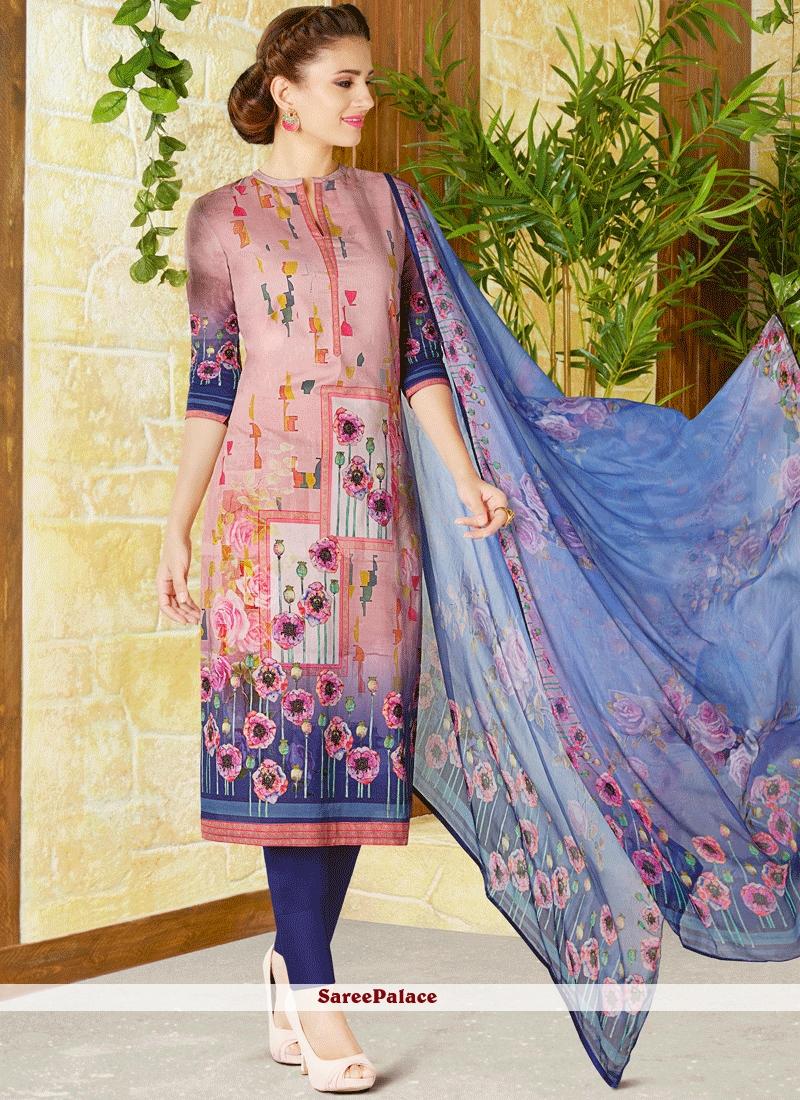 Excellent Cotton   Multi Colour Print Work Churidar Designer Suit