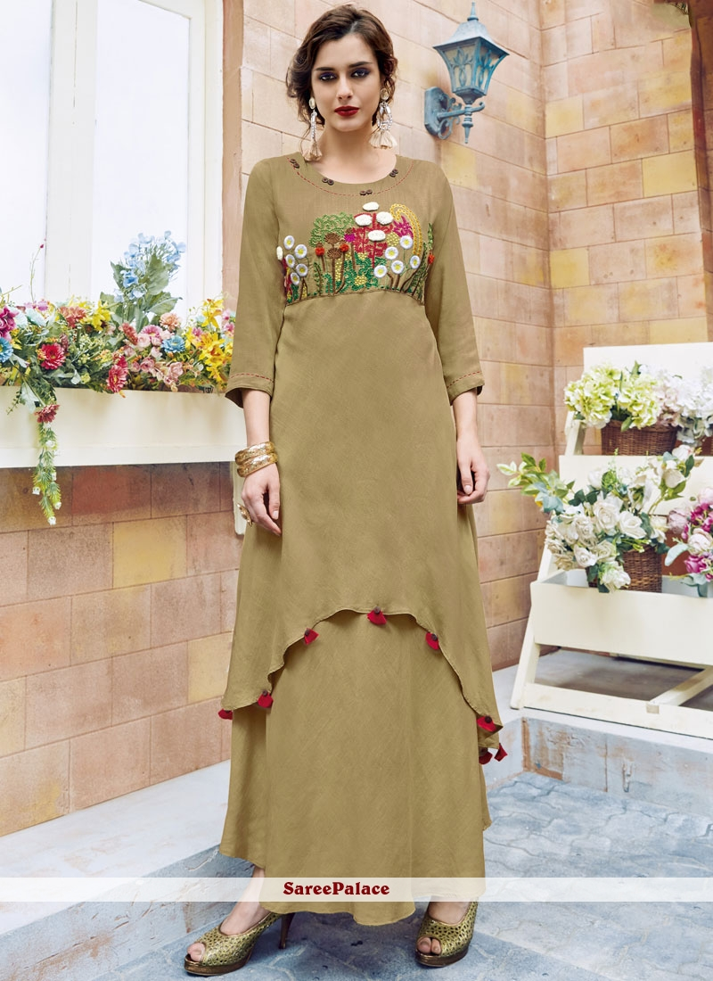 Excellent Embroidered Work Beige Rayon Party Wear Kurti