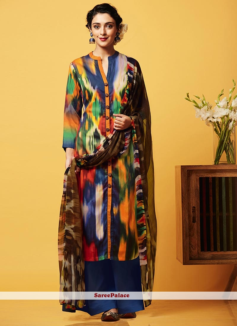Exceptional Digital Print Work Faux Chiffon Designer Palazzo Suit