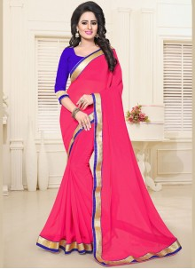 Exceptional Faux Georgette Lace Work Casual Saree