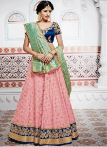 Exceptional Pink Banarasi Silk Lehenga Choli